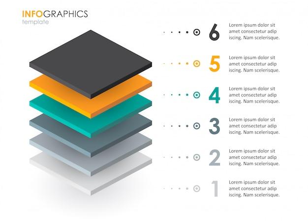Изометрические инфографики дизайн с 6 вариантами уровней или шагов. инфографика для бизнес-концепции.