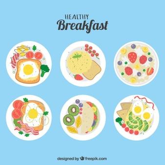 フラットなデザインの6健康的な朝食のパック