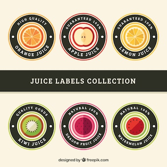 さまざまな果物の6つの円形ラベルのセット