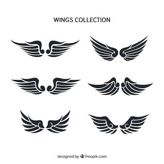 フラットデザインの6つの羽のセット