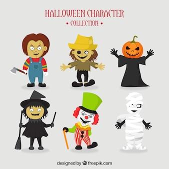 6人の典型的なハロウィーンのキャラクターのセット