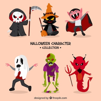 6人のキャラクターのハロウィン主題コレクション