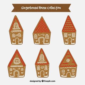 赤い屋根のある6つのジンジャーブレッドハウスのコレクション