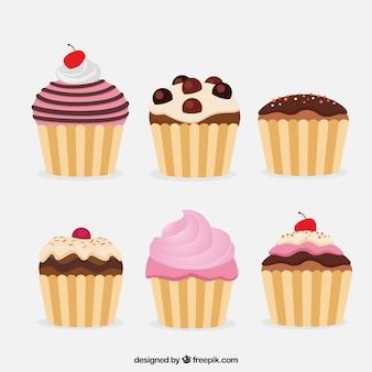 6つのフラットケーキのパック