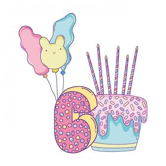 風船と数字の6つの誕生日ケーキ