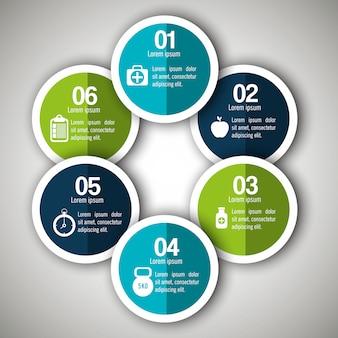 6つのステップを持つ医療インフォグラフィック