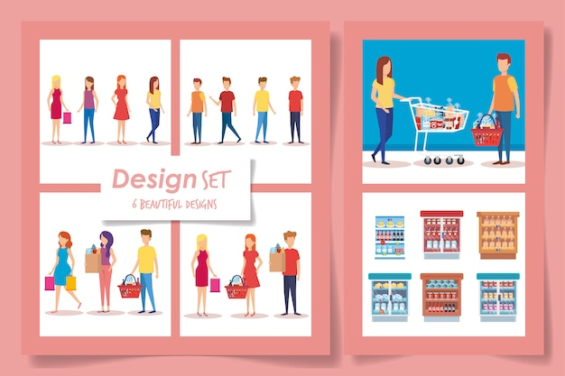 スーパーマーケットの顧客の6つのデザイン