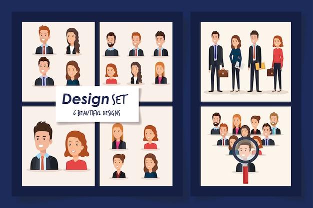 6つのシーンのビジネス人々のベクターイラストデザイン