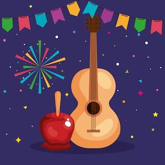 ギターと装飾が施されたフェスタジュニーナ、ブラジルの6月祭、お祝いの装飾