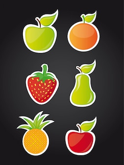 黒背景ベクトルイラスト以上の6つのかわいい果物