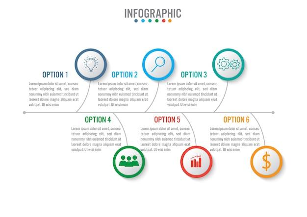 ビジネスインフォグラフィックテンプレートと6つのオプション