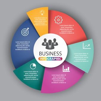 ダイアグラム、グラフ、プレゼンテーション用のテンプレート。 6つのオプションがあるビジネスコンセプト
