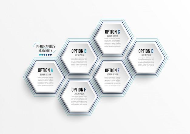 ベクトルイラストインフォグラフィック6オプション。テンプレート