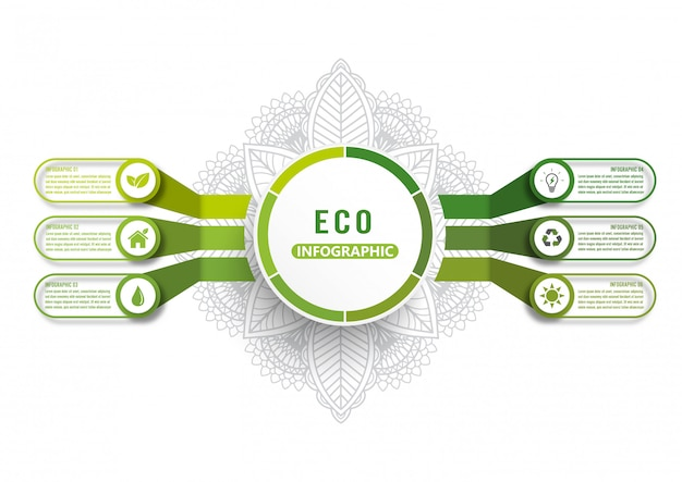 モダンなグリーンエコロジーデザインレイアウトインフォグラフィック6オプションを持つベクターインフォグラフィックテンプレート