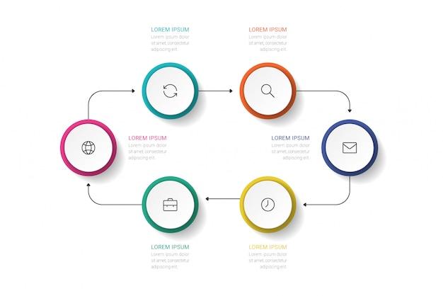 ビジネスプロセス。 6つのオプション、サークルのタイムラインインフォグラフィック。
