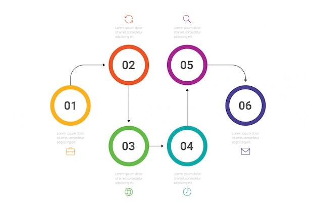 ビジネスプロセス。 6つのオプション、サークルのタイムラインインフォグラフィック。 。