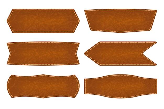 6つの形の革の標識ラベルのセット