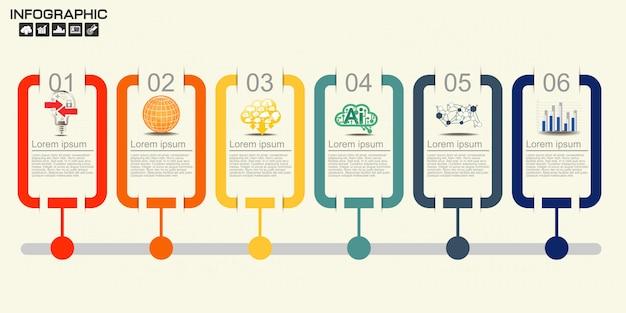 6つのオプションを持つタイムラインインフォグラフィックデザインテンプレート。