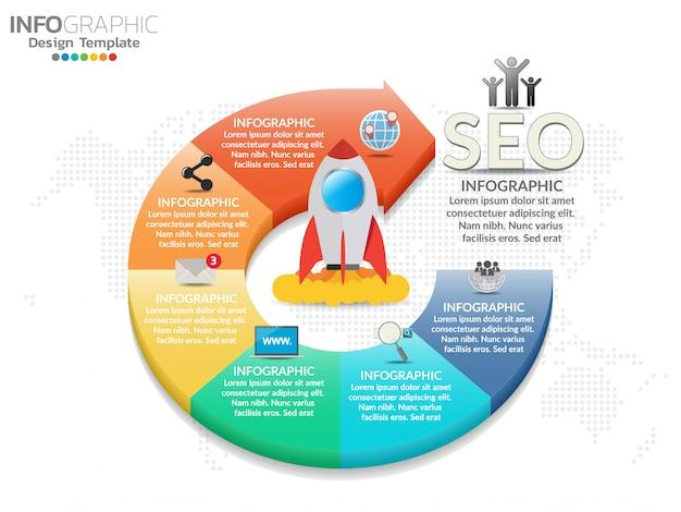 プレゼンテーションビジネスインフォグラフィックテンプレートの6つの部分。