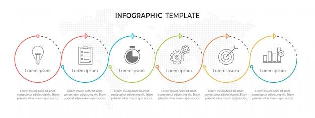 モダンなサークルタイムラインインフォグラフィック6オプションまたは手順。