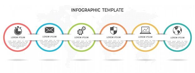 モダンサークルタイムラインインフォグラフィックテンプレート6オプション