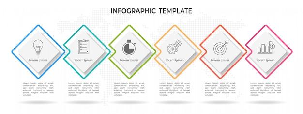 モダンなタイムラインのインフォグラフィック6オプション
