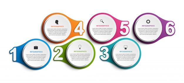 6つの番号付きステップを持つインフォグラフィック。