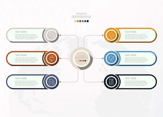 ビジネスコンセプトの6プロセスインフォグラフィック。