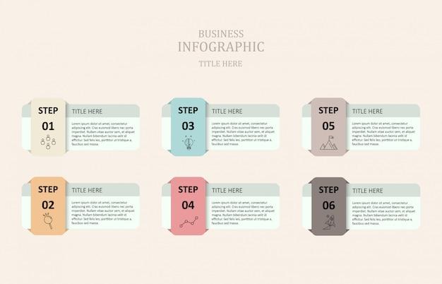 カラフルなインフォグラフィック6ボックスのテキスト。