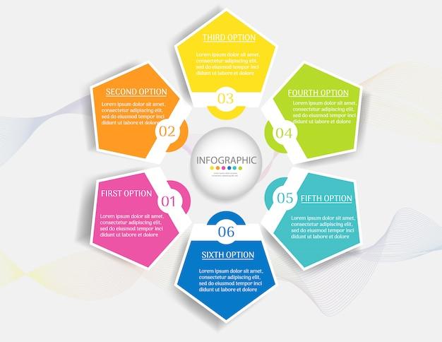 Дизайн бизнес шаблон 6 шагов инфографики элемент диаграммы.