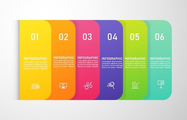 Дизайн бизнес шаблона 6 вариантов инфографики для презентаций.