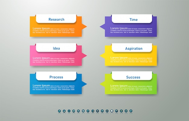 ビジネステンプレート6オプションまたは手順インフォグラフィックグラフ要素。