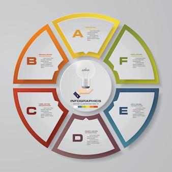 6 шагов диаграммы диаграммы инфографические элементы