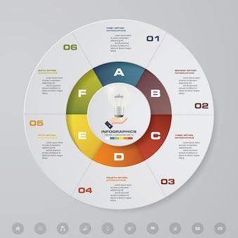 6 этапов циклической диаграммы инфографических элементов.