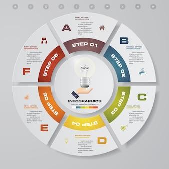 Абстрактные 6 этапов циклической диаграммы инфографических элементов.