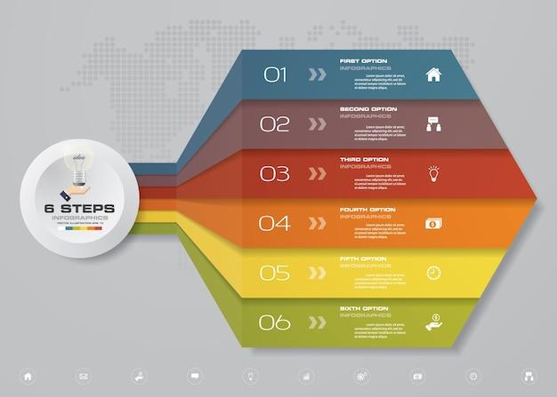 プレゼンテーションのための6つのステップのテンプレートチャート。