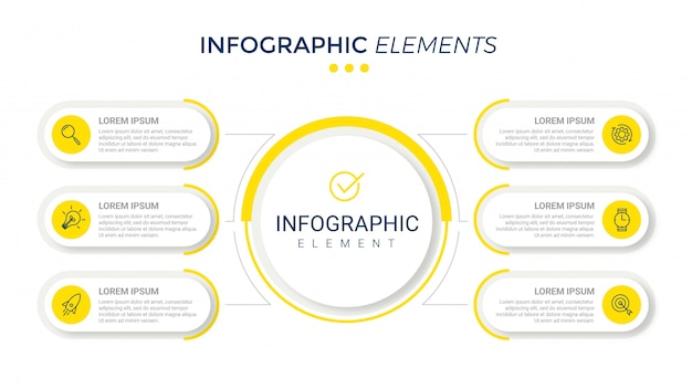 6つのオプションを持つプレゼンテーションビジネスインフォグラフィックテンプレート