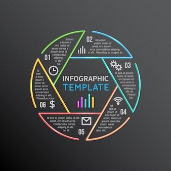 6つのオプション、部品、手順、プロセスを備えたインフォグラフィックレポートテンプレートレイアウトサークルラインシェイプ