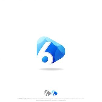 6番のロゴのベクトルと再生ボタン