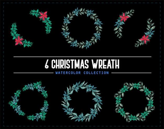 6クリスマスリース水彩コレクション