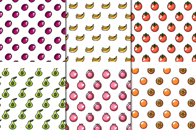 Набор из 6 бесшовных сочных фруктов