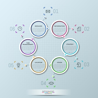 6つの円形の要素を持つ創造的なインフォグラフィック