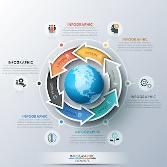 惑星地球、アイコン、テキストボックスの周りに配置された6文字の矢印を持つユニークなインフォグラフィックデザインレイアウト