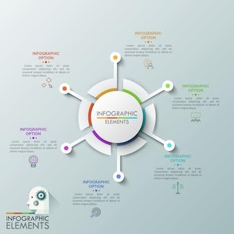 Круговая диаграмма с 6 отдельными секторами в окружении тонких линий пиктограмм и текстовых полей. концепция шести шагов к успешному развитию бизнеса.