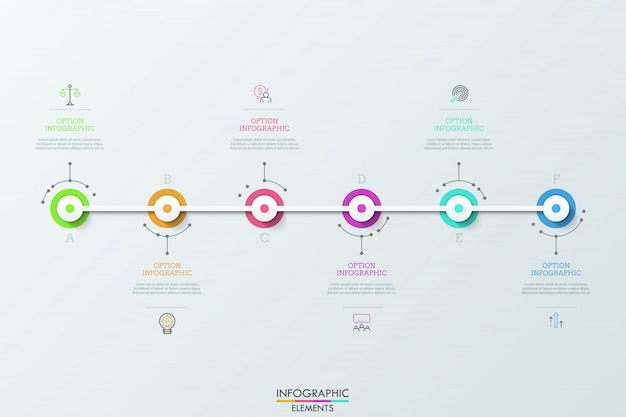 Шесть красочных кругов, соединенных белой горизонтальной полосой, тонкими линиями символов и текстовыми полями. концепция 6 этапов прогрессивного развития.