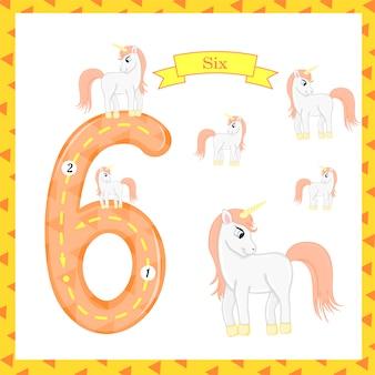 かわいい子供たちフラッシュカード番号6つのトレース