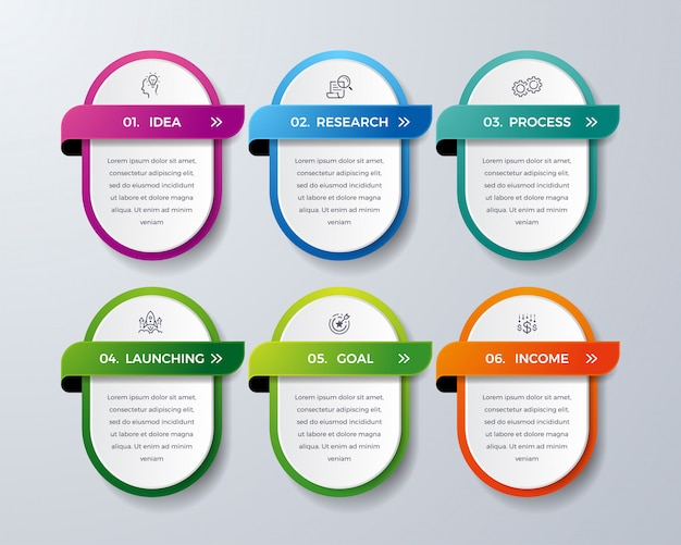 6つのプロセスまたはステップを持つインフォグラフィックデザイン。