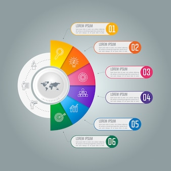 6つのオプションを持つタイムラインのインフォグラフィックなビジネスコンセプト。