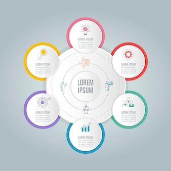 6つのオプションを持つインフォグラフィックデザインのビジネスコンセプト。
