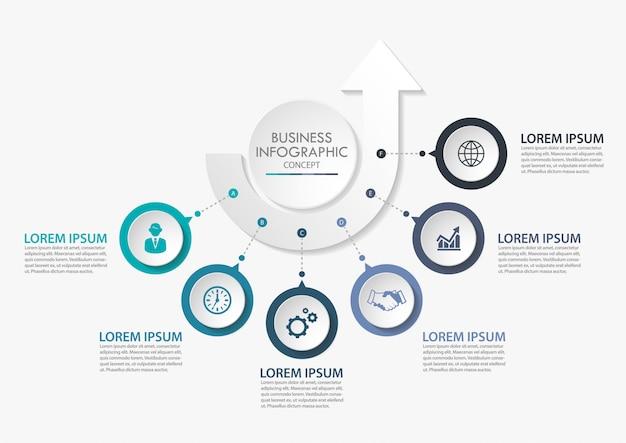 Презентационный бизнес-инфографический шаблон с 6 вариантами.